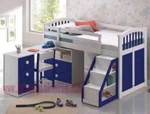 tempat tidur anak duco biru putih km 086