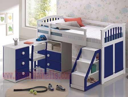 tempat tidur anak duco biru putih