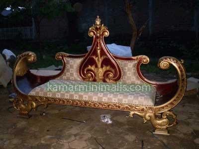 kursi perahu cat duco emas
