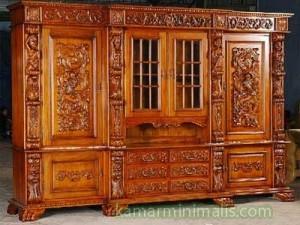 lemari ukir kayu jati mebel furniture jepara mewah km 289
