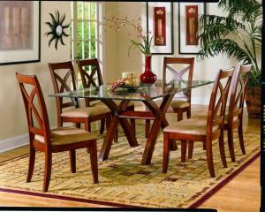 Satu set kursi dan meja makan jati